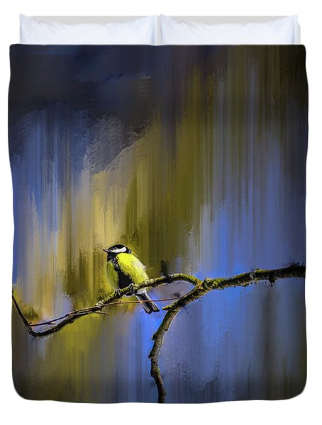 Duvet Cover featuring the photograph Great Tit On Branch #h3 by Leif Sohlman