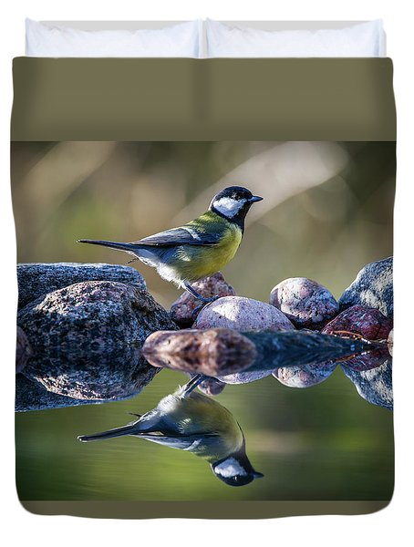 Great Tit On The Stone Duvet Cover