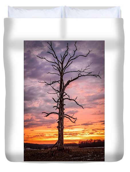 Great Tree At Sunset Duvet Cover