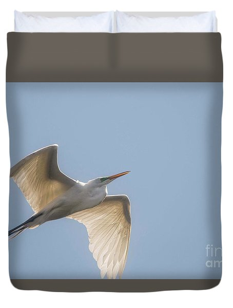 Duvet Cover featuring the photograph Great White Egret - 2 by David Bearden