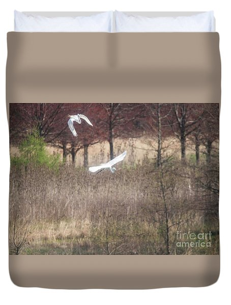Duvet Cover featuring the photograph Great White Egret - 3 by David Bearden