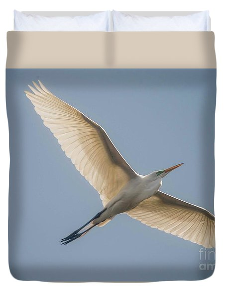 Duvet Cover featuring the photograph Great White Egret by David Bearden