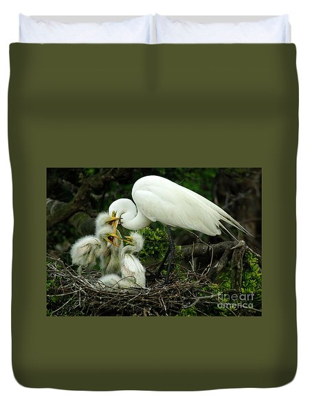 Majestic Great White Egret High Island Texas 9 Duvet Cover by Bob Christopher