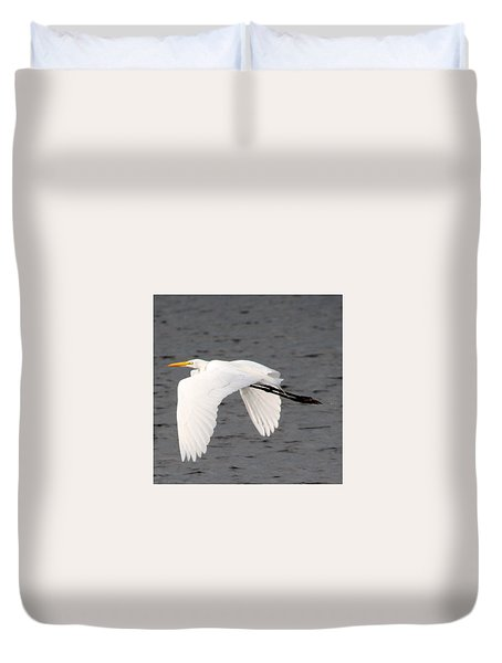 Great White Egret In Flight Duvet Cover by Laurel Talabere