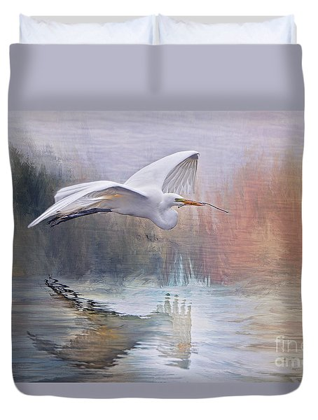 Great White Egret In Nesting Season Duvet Cover by Bonnie Barry