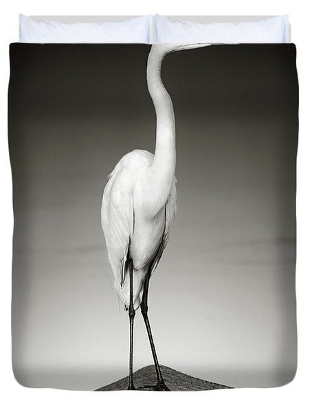 Great White Egret On Hippo Duvet Cover