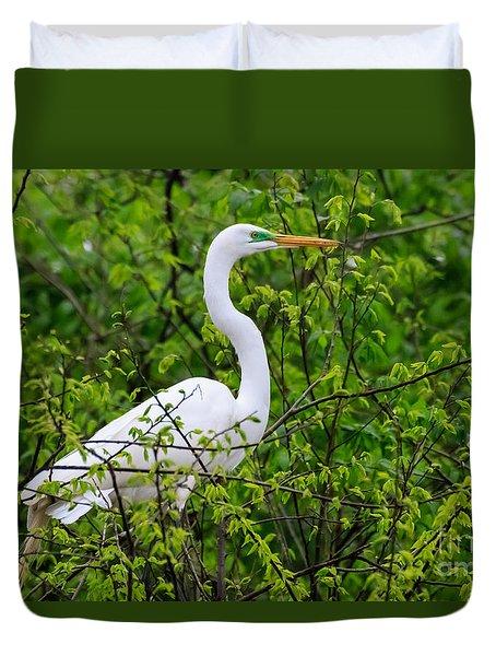 Great White Egret Duvet Cover