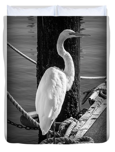 Great White Heron In Black And White Duvet Cover