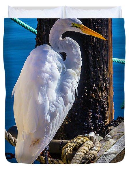 Great White Heron On Boat Dock Duvet Cover