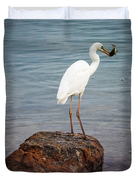 Great White Heron With Fish Duvet Cover