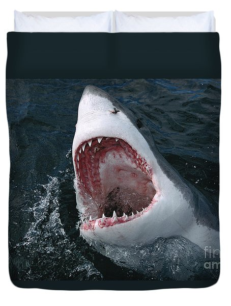 Great White Shark Jaws Duvet Cover by Mike Parry