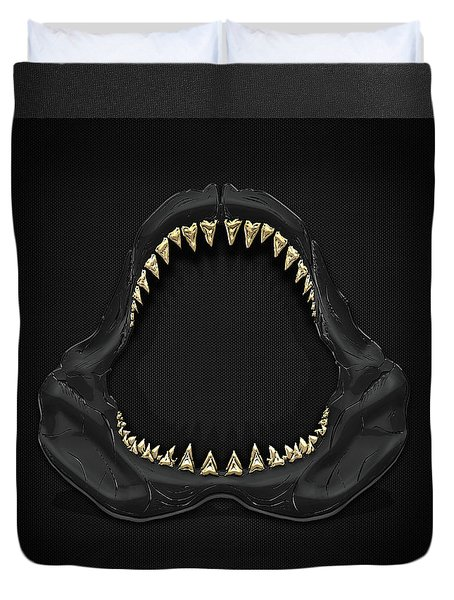 Great White Shark Jaws With Gold Teeth  Duvet Cover by Serge Averbukh