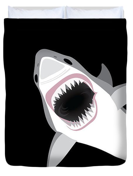 Great White Shark Duvet Cover by Antique Images