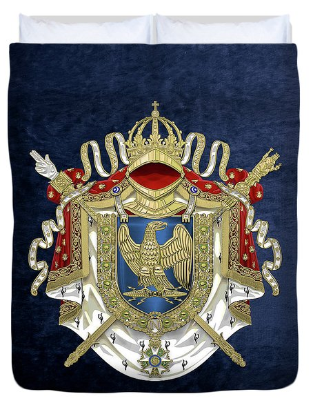 Greater Coat Of Arms Of The First French Empire Over Blue Velvet Duvet Cover