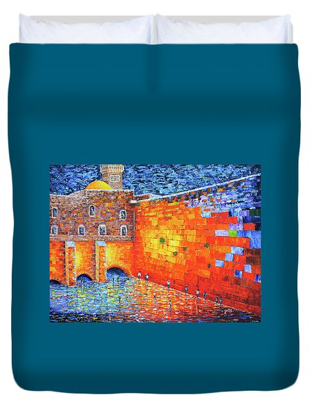Duvet Cover featuring the painting Wailing Wall Greatness In The Evening Jerusalem Palette Knife Painting by Georgeta Blanaru