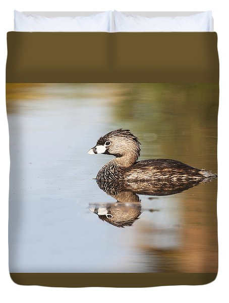 Duvet Cover featuring the photograph Grebe On Calm Lake by Ruth Jolly