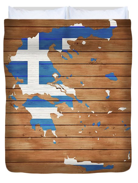 Greece Rustic Map On Wood Duvet Cover