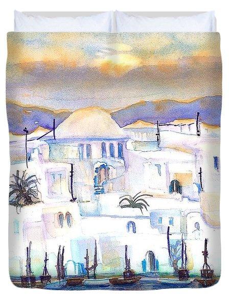 Greece- The White Houses Of Mykonos Duvet Cover