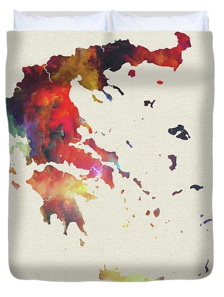 Greece Watercolor Map Duvet Cover
