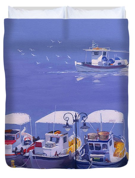 Greek Fishing Boats Duvet Cover