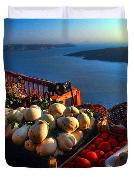 Greek Food At Santorini Duvet Cover by David Smith