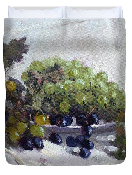 Greek Grapes Duvet Cover