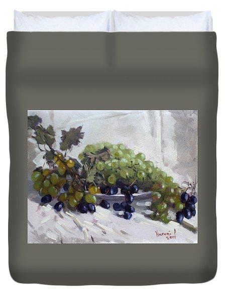 Greek Grapes Duvet Cover