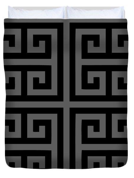 Greek Key Black Background 02-p0108 Duvet Cover