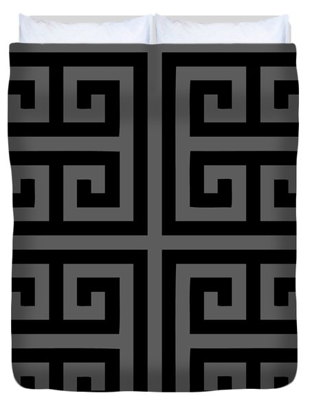 Greek Key Black Background 02-p0108 Duvet Cover