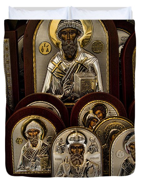 Greek Orthodox Church Icons Duvet Cover