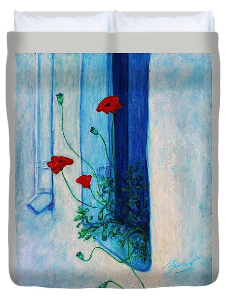 Duvet Cover featuring the painting Greek Poppies by Xueling Zou