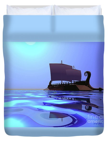 Greek Ship Duvet Cover by Corey Ford