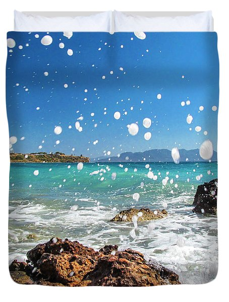 Greek Surf Spray Duvet Cover