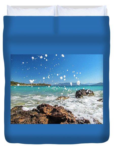Greek Surf Spray Duvet Cover
