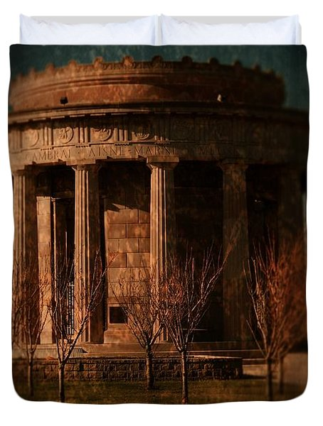 Greek Temple Monument War Memorial Duvet Cover by Angie Tirado