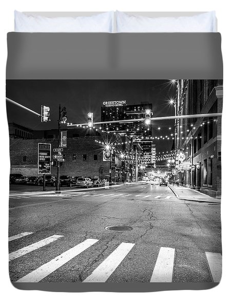 Greek Town In Black And White Duvet Cover
