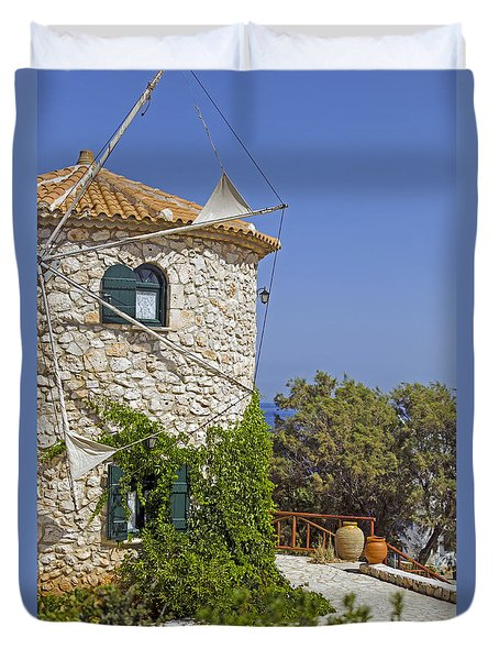 Greek Windmill Duvet Cover