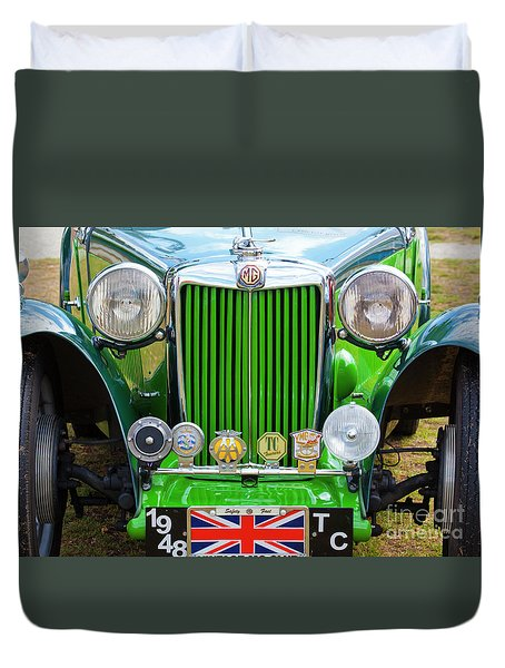 Duvet Cover featuring the photograph Green 1948 Mg Tc by Chris Dutton