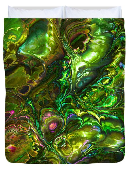 Green Abalone Abstract Duvet Cover