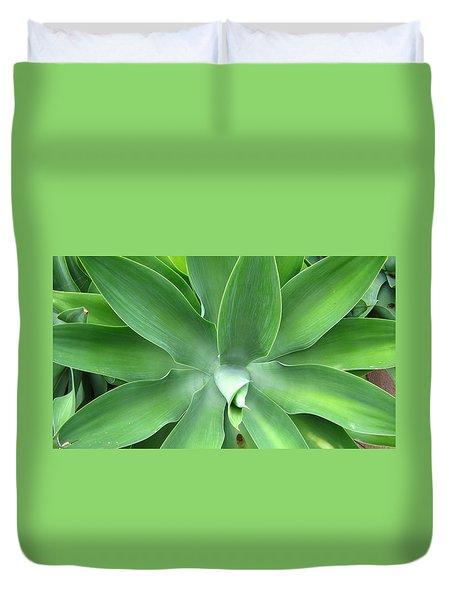 Green Agave Leaves Duvet Cover