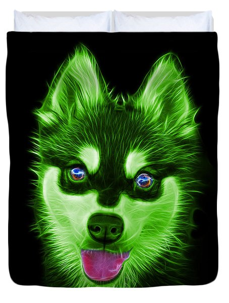 Green Alaskan Klee Kai - 6029 -bb Duvet Cover by James Ahn