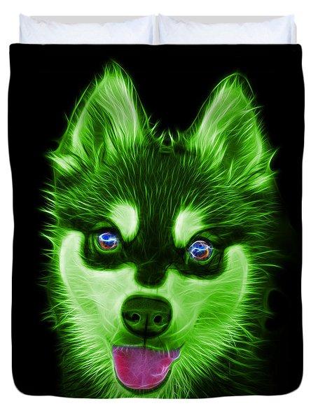 Green Alaskan Klee Kai - 6029 -bb Duvet Cover