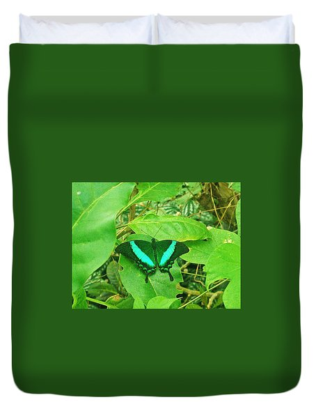 Green And Aqua Butterfly Duvet Cover