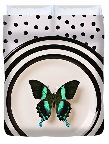 Green And Black Butterfly On Plate Duvet Cover
