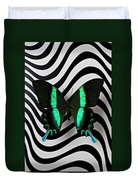 Green And Black Butterfly On Wavey Lines Duvet Cover by Garry Gay