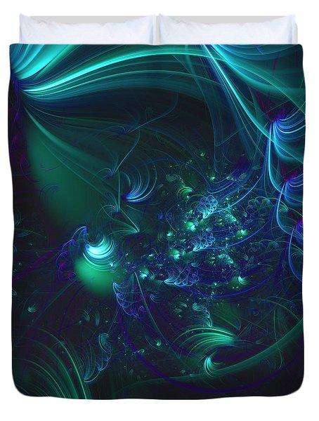 Green And Blue Escape Duvet Cover