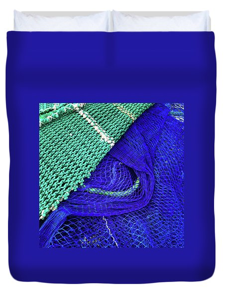Green And Blue Fishing Nets Duvet Cover
