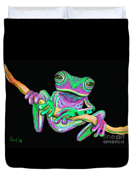 Green And Pink Frog Duvet Cover