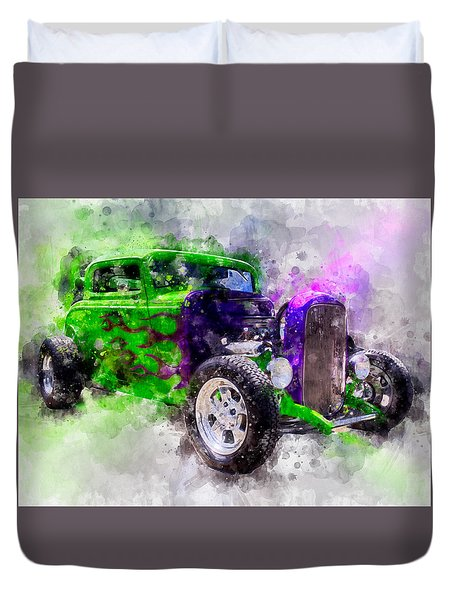Green And Purple Watercolor Duvet Cover