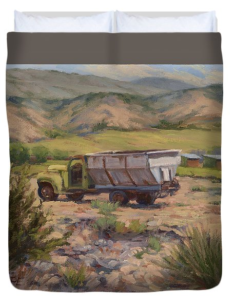 Green And Silver Truck Duvet Cover